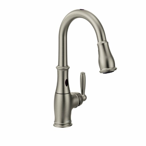 Moen Brantford Motionsense Two-Sensor Touchless One-Handle High-Arc Pulldown Kitchen Faucet Featuring Reflex, Spot Resist Stainless (7185ESRS)