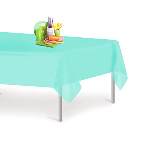 Aqua 6 Pack Premium Disposable Plastic Tablecloth 54 Inch. x 108 Inch. Rectangle Table Cover By Grandipity