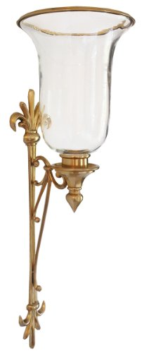 Inviting Home CS5115 Hurricane Candle Sconce, Antique Brass (Glass Hurricanes Wall Blown)