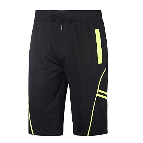 (Nacome_Promotion Men's Casual Classic Fit Cotton Elastic Jogger Gym Shorts Sports Pants (Black,)