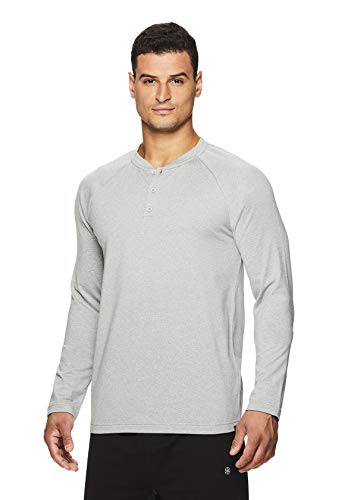Gaiam Men's Long Sleeve Henley T Shirt - Yoga & Workout Activewear Top - Longevity Grey Heather, ()