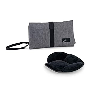 JuJuBe Portable Baby Changing Pad | On The Go | All-in-1 Foldable Diaper Changing Station, Stain Resistant, Lightweight Travel Mat Station, Detachable Padded Pillow | Dark Grey