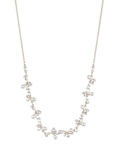 (Carolee Women's Petals and Pearls Women's Frontal Freshwater Pearl Necklace 16 inches, Gold/White)