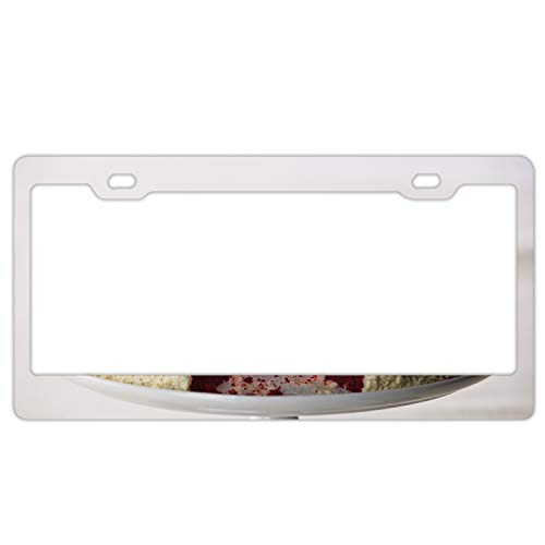 License Plate Covers Cheesecake Sweet Dessert Cut Pie Layers Steel Metal License Plate Frame Style