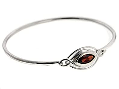 Elliptical Classic Sterling Silver Bangle Bracelet with a 1ct Garnet Gemstone