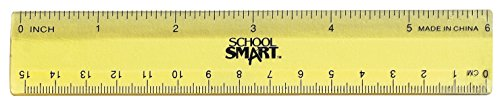 Measurement Smart Bookmarks - School Smart Lightweight Strong Plastic Ruler 6 Inches, Pack of 6