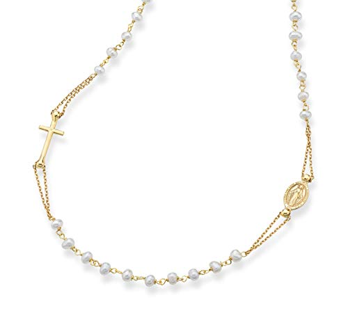 MiaBella 18K Gold Over Sterling Silver Handmade Italian Rosary White Cultured Freshwater Pearl Ball Beaded Sideways Cross Necklace for Women Girls, Chain 18, 20 Inch 925 Italy (18) (History Of Our Lady Of The Miraculous Medal)