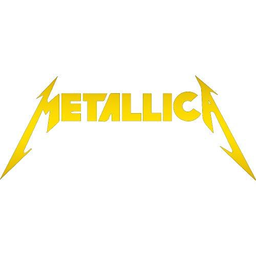 (NBFU DECALS Metallica (Metallic Gold) (Set of 2) Premium Waterproof Vinyl Decal Stickers for Laptop Phone Accessory Helmet CAR Window Bumper Mug Tuber Cup Door Wall Decoration)