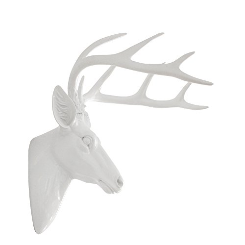Pine Wall Sculpture - Pine Ridge Large Wall Hanging Faux Taxidermy Decor White Deer Antler Sculpture. Modern Art Animal Decoration Mounted Stag Head Mount with Antlers