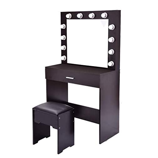 Vanity Set with Lighted Mirror, Wood Makeup Dressing Table with 12 LED Bulbs, 1 Sliding Drawer, 1 Cushioned Stool…