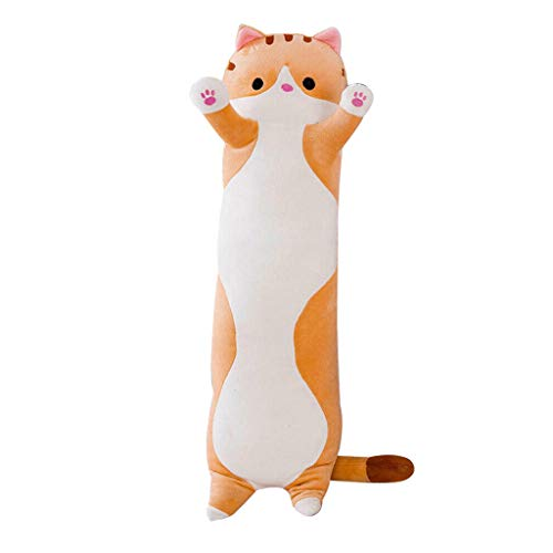 Toy Shimigy 50/70/90 cm Comfort Long Cotton Cute Cat Doll Plush Soft Stuffed Sleeping Pillow (70CM, Brown)