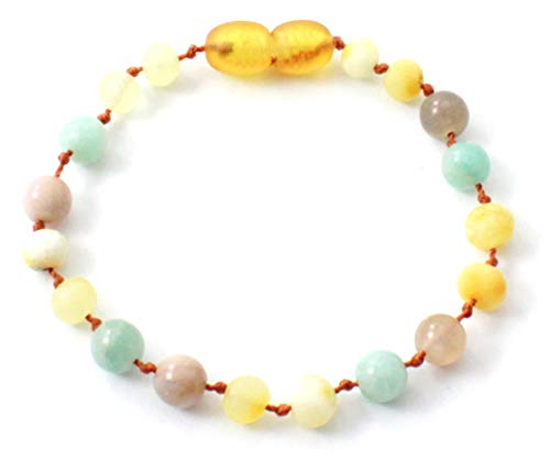 TipTop-Eco Raw Baltic Amber Teething Bracelet or Anklet Made with Amazonite and Sunstone - 5.5 Inches Long - Unpolished Milky Butter Beads (Milky/Sunstone/Amazonite, 5.5 Inches)