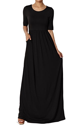 Dress Knit Shirred (TheMogan Women's Half Sleeve Shirred Viscose Jersey Long Maxi Dress Black 1XL)
