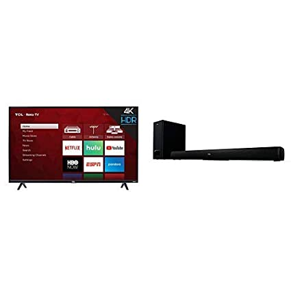 TCL 43S425 43 Inch 4K Ultra HD Smart Roku LED TV (2018) with TCL Alto 5+  2 1 Channel Home Theater Sound Bar with Wireless Subwoofer - TS5010