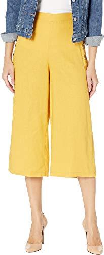 (eci Women's Cropped Linen Pants w/Side Buttons Citron Medium 20)