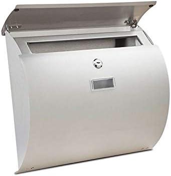 DS-ドンシェンショップ メールボックス、ステンレス鋼肥厚屋外壁掛けレターボックス防水アンチスマッシングロック、新聞や雑誌のメールボックス、屋外中庭に適し、375 X 108 X 330 mm &&