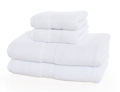 [해외]YOUNIQUE 100 % Cotton Bath Towel Set- 4 Piece 2 Bath Towels 27.5 x 55, 2 Hand Towels 13 x 29/YOUNIQUE 100% Cotton Bath To
