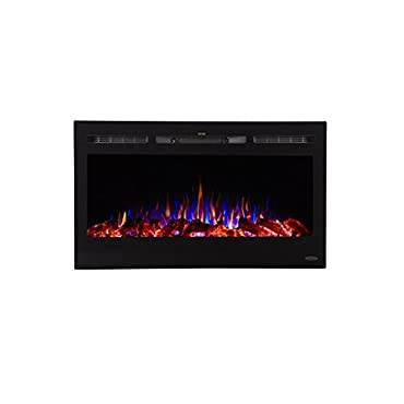 Touchstone 80014 Sideline Electric Fireplace 36 Inch Wide in Wall Recessed 5 Flame Settings Realistic 3 Color Flame 1500/750 Watt Heater (Black) Log & Crystal Hearth Options