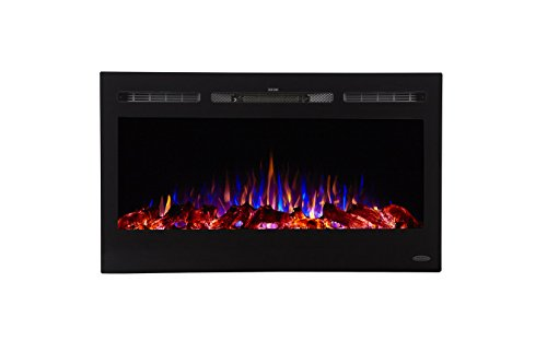 Touchstone Sideline Recessed Mounted Electric Fireplaces (36 - Glass Mercury Diy