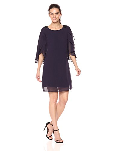 S.L. Fashions Women's Double Split Sleeve with Beaded Shoulder Sheath Dress, Storm, 12