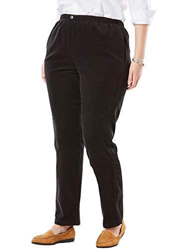Woman Within Women's Plus Size Petite Comfort Waist Straight Leg Corduroy Pant - Black, 20 WP