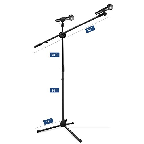 Microphone Stand, Ohuhu Tripod Boom Mic Stands with 2 Mic Clip Holders, Adjustable, Collapsible, Black by Ohuhu (Image #1)