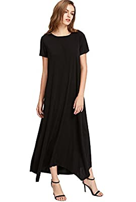 Verdusa Women's Boho Casual Loose Short Sleeve Long Maxi Shift Dress