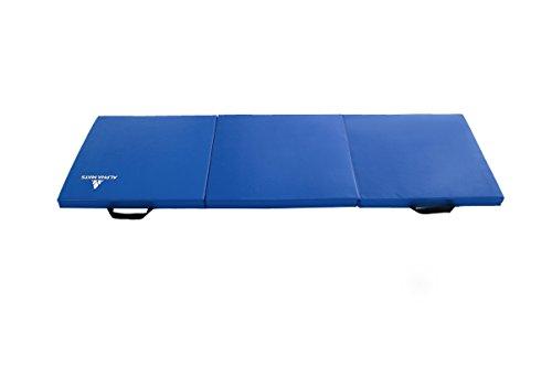 Alpha Mats Folding Gymnastics and Exercise Mat, PU Material & EPE Foam, Perfect for Aerobics, Yoga, Martial Arts, Blue, 2'x6'x2