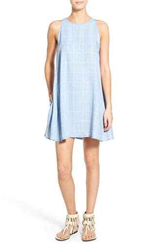 Rails Anya Check Chambray A-Line Sleeveless Short Shift Dress - Light Vintage Blue - - Anya Dress
