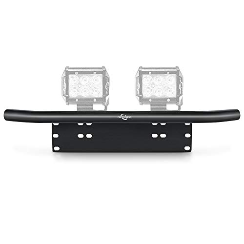 (MICTUNING Universal License Plate Mounting Bracket Front Bull Bar Bumper for Off Road LED Work Light Bar)