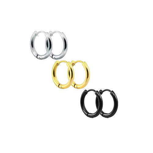(3-4 Pairs Stainless Steel Earrings Small Huggie Hoop Earrings for Women Men 3C10mm)
