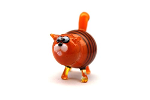 Glass Cat Figurine Hand-Blown Collectible Art Glass Glass Cat Sculpture Glass Cat (Figurine Handmade Sculpture)