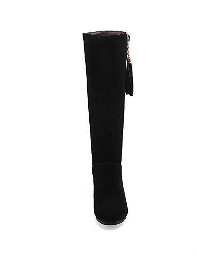 Cuñas Tacón La Casual Black Punta A Uk6 Botas Vestido De Mujer Vellón Cn39 Moda Xzz Negro us8 Cuña Eu39 Zapatos Redonda nCxvqtOaXw