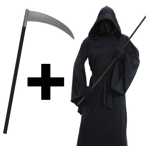Phantom of Darkness + Scythe Mens Fancy Dress Halloween Horror Grim Reaper Death Robe Adults Costume Outfit Amscan