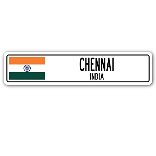 CHENNAI, INDIA Street Sign Indian flag city country road wall gift