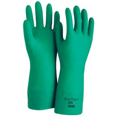 Ansell 37-175-11 Sol-Vex Unsupported Nitrile Gloves, Straight Cuff, Flock Lined, Size 11, Green (Pack of 12)