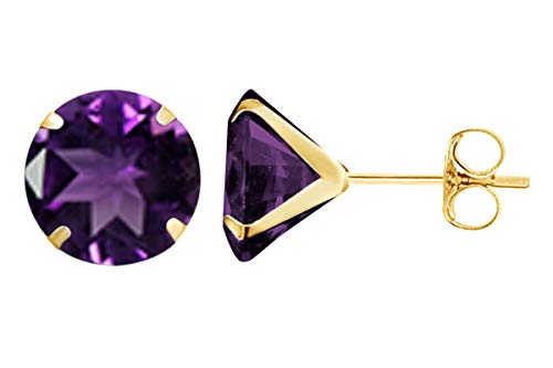 8mm Round Cut Simulated Amethyst Stud Earrings in 14k Yellow Gold Over Sterling Silver ()
