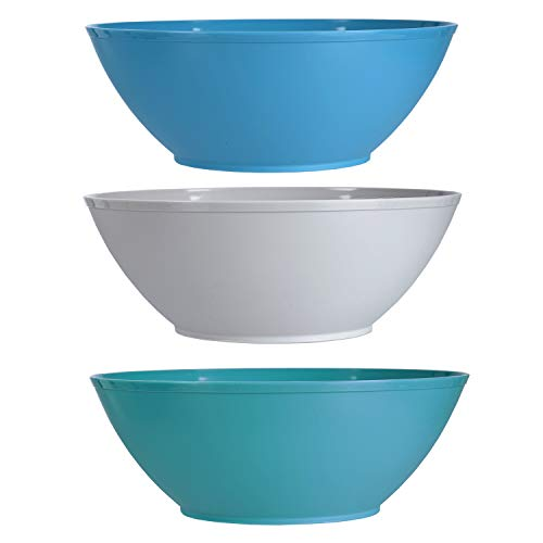 Fresco 10-inch Plastic Mixing and Serving Bowls | set of 6 in 3 Coastal Colors by US Acrylic