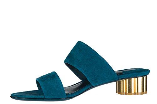 Wildleder Sandaletten Blu Absatz Ferragamo Sandalen Salvatore Belluno Damen mit qxAaFS41