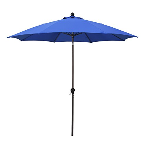 (California Umbrella 9' Round Aluminum Pole Fiberglass Rib Umbrella, Crank Open, Push Button 3-Way Tilt, Bronze Pole, Pacifica)