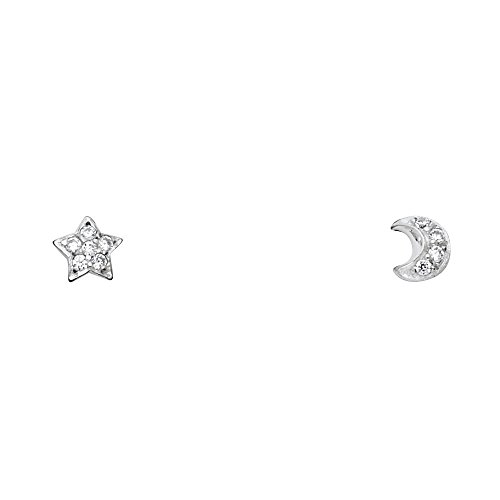 Wellingsale 14K White Gold Polished Star & Moon Stud Earrings With Screw Back