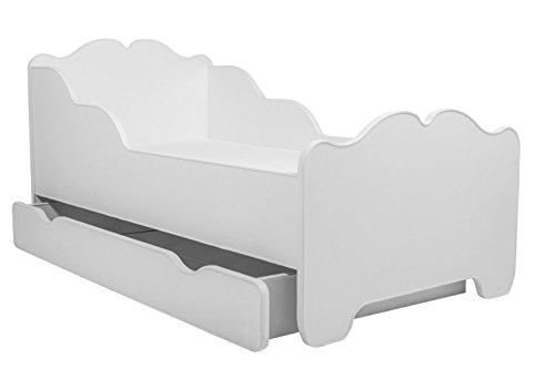 Lettino per bambini da letto per bambini modello ANNA BIANCO dimensione 140×70 con un materasso, con un cassetto Prezzi offerte