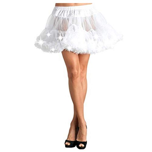 POQOQ Tulle Tutu Women Girl Led Glow Costume Elastic Mesh Loose Dance Pettiskirt Ball Skirt White