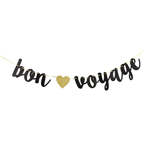 Bon Voyage Black Glitter Cursive Party Banner, Moving Away,Retirement Party Decorations Sign ()