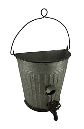 Galvanized Ribbed Metal Hanging Bucket Planter and Bird House