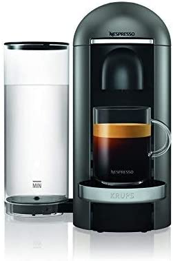 Krups Nespresso 1260 W Vertuo Bundle Refurbished Titanium XN902T40 Pod Coffee Machine