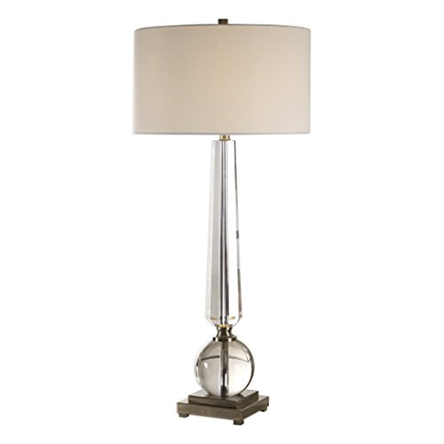 My Swanky Home Classic Tapered Clear Crystal Column Table Lamp | Tall Shapes Obelisk ()