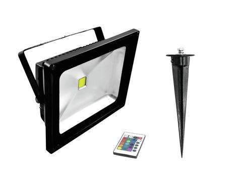 Proyector LED RGB con pica de tierra 230V / 30W, IP65, 120 ° - Luz ...