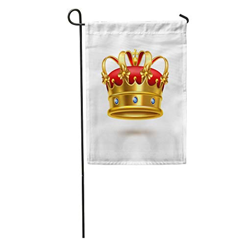 Red Stone Royal (Semtomn Garden Flag Royal Ceremonial Gold Crown Gemstones and Red Velvet Realistic Single Home Yard Decor Barnner Outdoor Stand 28x40 Inches Flag)