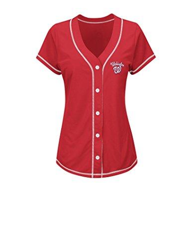 MLB Washington Nationals Women's T4L Fashion Tops, Red/White, Medium